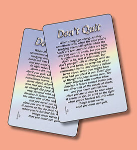 don t quit motivational poem 2 verse cards sku 527 ebay
