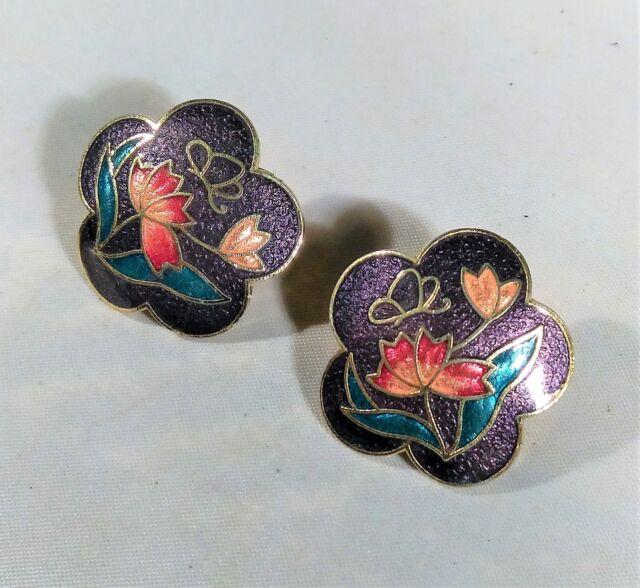 Purple Teal Pink Cloisonne Enamel Earrings Lotus Flower Butterfly Asian Inspired