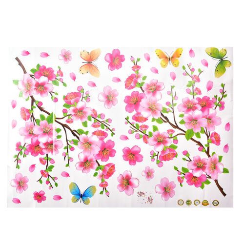 Cherry Blossom Tree Flower Butterfly Wall Sticker Vinyl Art Mural DIY Decals Fs