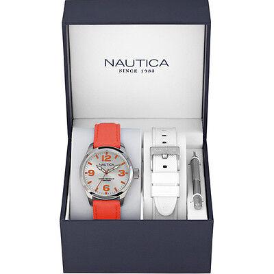 Nautica Unisex Orologio Orologi Watch Woman Uhr Box Set  Arancio Fluo A11627M