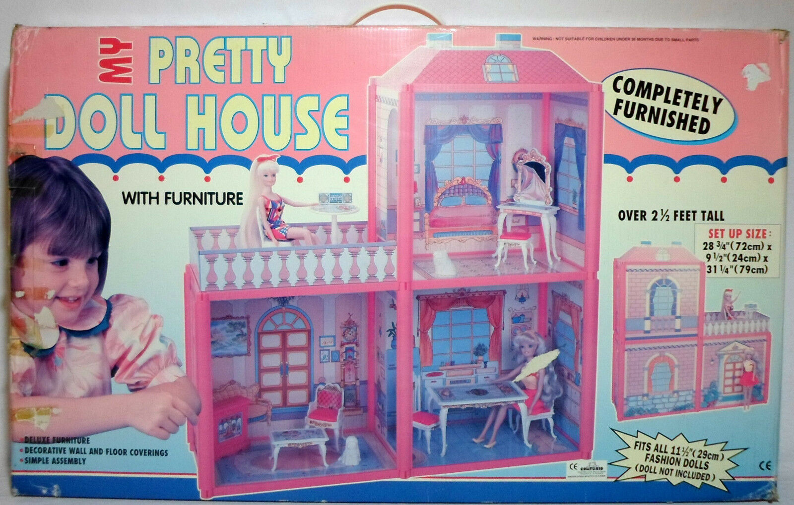 VTG 80's MY PRETTY DOLL HOUSE DETAILED PLAY SET FOR BARBIE   SINDY DOLL MIP NEW