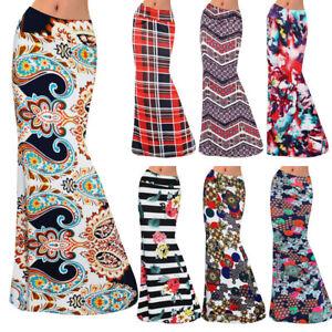 26b0be7787 BOHO Womens Floral Jersey Gypsy Long Maxi Full Long Skirt Summer ...