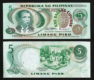 PHILIPPINES  5 PISO 1969 PREFIX J 5 PCS CONSECUTIVE LOT UNC P-143b SIGN 8