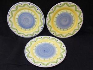 Image is loading Williams-Sonoma-MarisoL-3-HAND-PAINTED-Pattern-Dinner- & Williams Sonoma MarisoL 3 HAND PAINTED Pattern Dinner Plates Made in ...