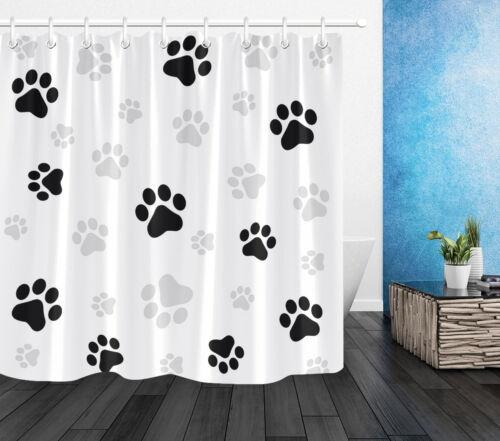 "Animal Dog Paw Prints Black /& Grey Claws Polyester Fabric Shower Curtain Set 72/"""
