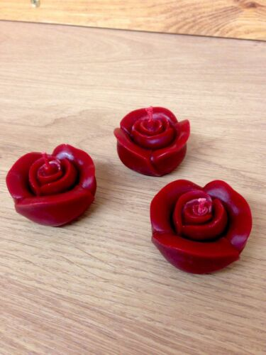 3 Handmade Beeswax Candles Red Rose Love Valentines Gifts