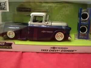 Jada-1955-Chevrolet-Stepside-Pickup-truck-1-24-scale-w-extra-wheels-in-box-nib