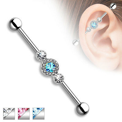 Three 3 CZ Centered Halo Multi Paved Circle Surgical Steel Industrial Barbell