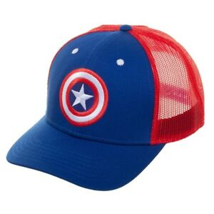 0b1bc935e70 Image is loading MARVEL-COMICS-CAPTAIN-AMERICA-SHIELD-CURVED-BILL-MESH-