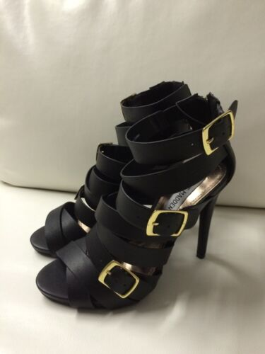 New Steve Madden Sola Black Gold Buckle Strappy Ladies High Heels Shoes