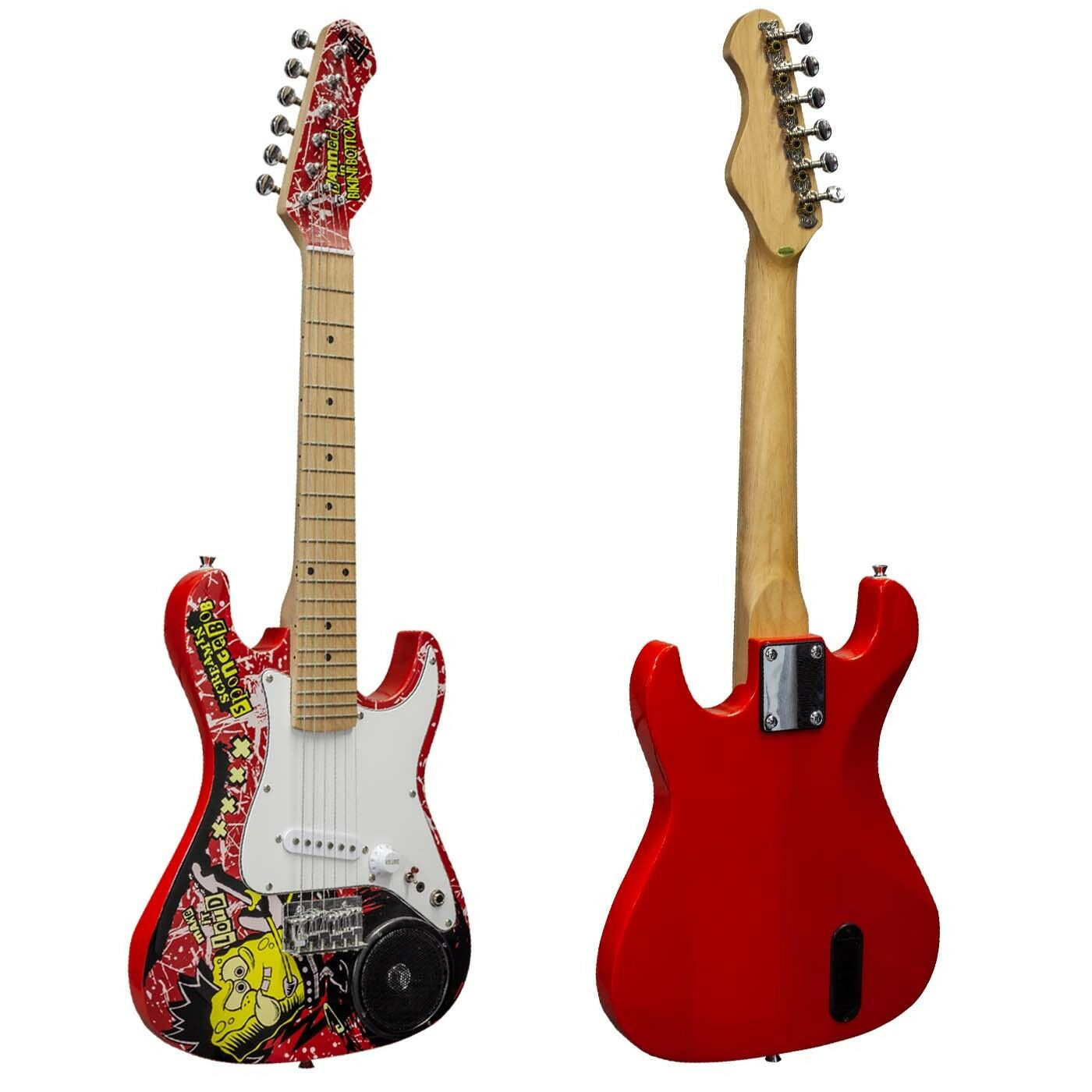 Spongebob 3 4 Größe Electric Guitar with Built In Speaker, Bag & Strap