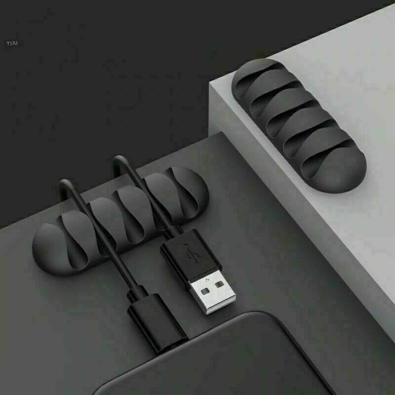 Black Cable Organiser Wire Cord Lead Managment Clip Usb Charger Holder Tidy Desk
