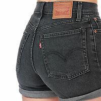 Bnwt-Damen-Levis-High-Rise-grau-schwarz-Wedgie-Shorts-w27-RRP-50