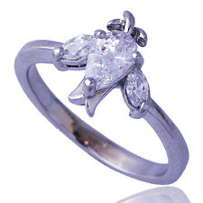 Womens Crystal Ring Silver Swallow Birds 14K White Gold Filled Ring Size 7