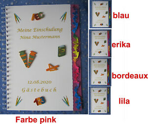 Details Zu Gästebuch Schulanfang Einschulung 1 Schultag Geschenk Schmetterlinge Bunt
