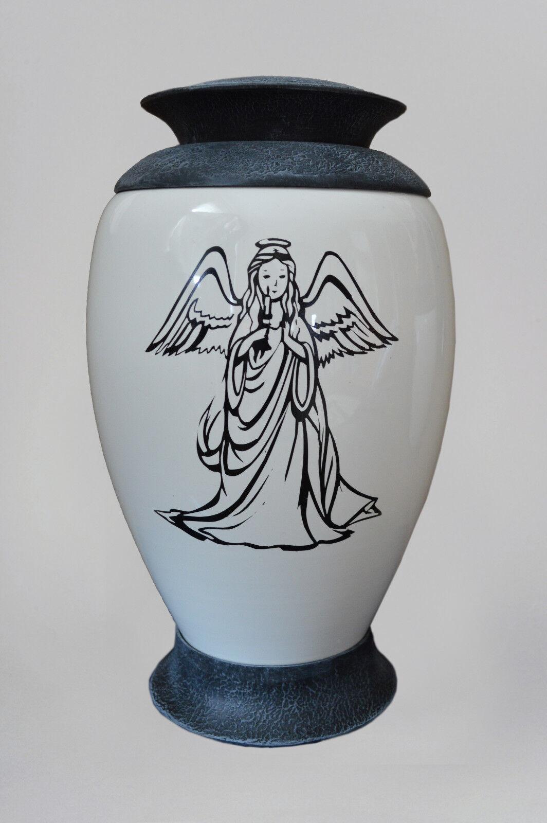 Mémorial verre Urne de crémation - Ange - Blanc enterrement Urne pour ashes-