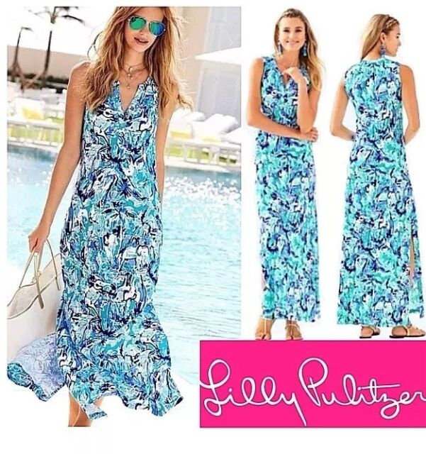 2024032a09a8df Lilly Pulitzer Essie Maxi Dress Blue Tropical Turquoise Elephant Appeal Sz M