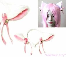WHITE FUR CAT EARS HEADBAND Gold Bell Ribbon Hair Band Mouse Cosplay Party Furry