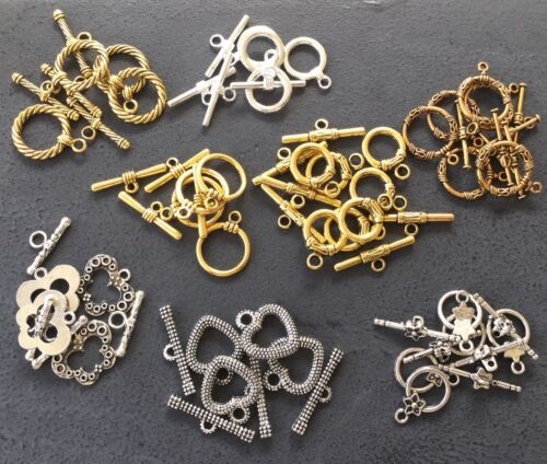 42 Set Silver//Gold Plated Toggle clasp closure Assorted Jewelry Making Supplies