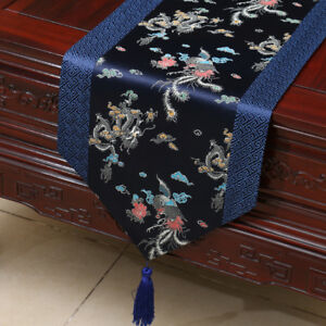 Image Is Loading Silk Table Runner Dark Blue Chinese Damask Tablecloth
