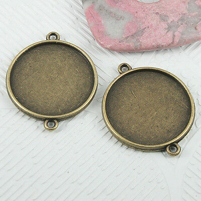 6pcs antiqued bronze 2sided round cabochon setting connector EF0696