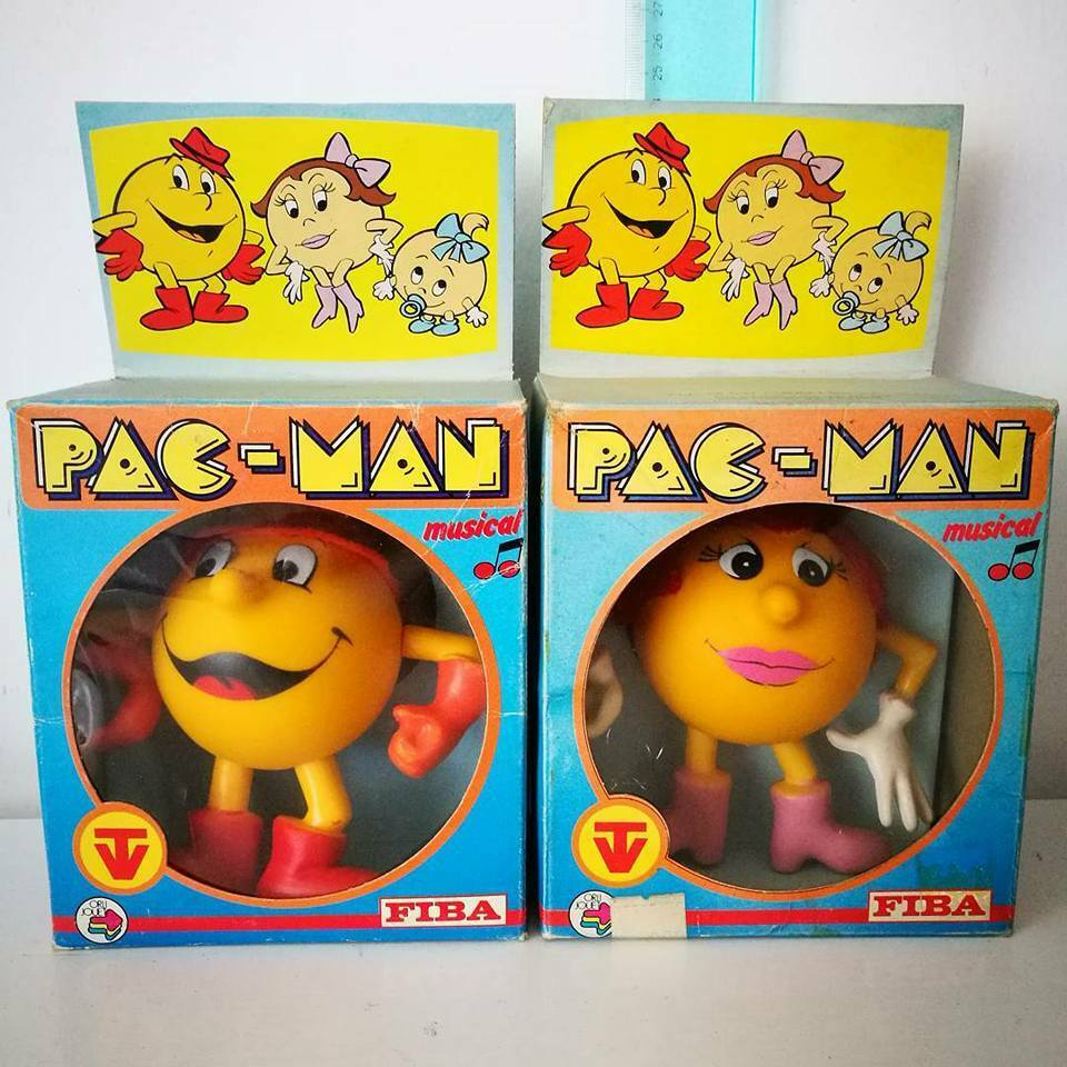 PACMAN DOLLS FIGURES FIBA 1984 MADE IN ITALY PACMAN AND MISS PACMAN
