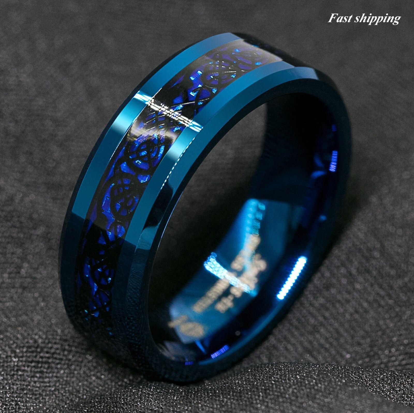 8Mm Blue Tungsten Carbide Ring Carbon Fibre Black Celtic Dragon