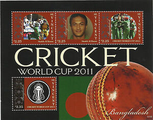 ST-VINCENT-2011-ICC-CRICKET-WORLD-CUP-BANGLADESH-SHAKIB-AL-HASAN-4v-Sheet-MNH