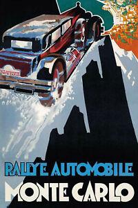 Rally-Automobile-Monte-Carlo-Panneau-Metallique-Plaque-Metal-en-Etain-20-X-30-CM