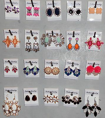 Earrings Wholesale 20 Pair Rhinestone Dangle Pierced Post New Multi Color X4