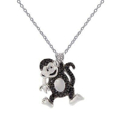 Animal Necklace Black Diamond Accent Panda
