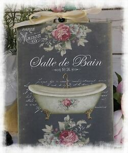 Vintage Salle De Bain Shabby Chic Country Cottage Style Wall Decor Sign Ebay