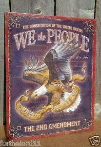 2ND AMENDMENT WE THE PEOPLE Tin Metal Sign Wall Bar Garage Classic Vintage Bar