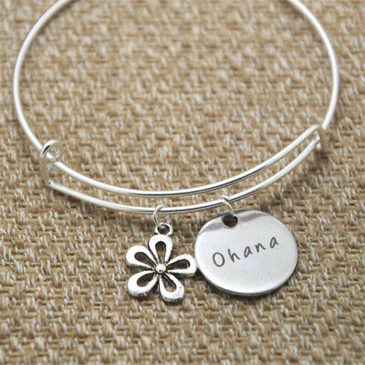 Silver colored crystals Ohana Means Family bracelet Inspired by Lilo /& Stitch