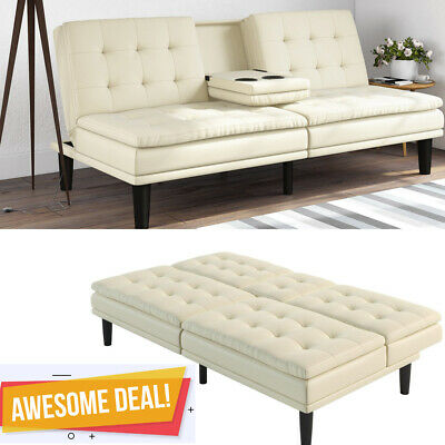Memory Foam Leather Futon Sofa Bed Couch Sleeper Cup Holder Pillow Top White Ebay