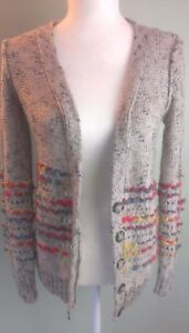 Pieces-Kensie-Womans-Size-Small-Beige-Alpaca-Woven-Yarn-V-Neck-Cardigan-Sweater