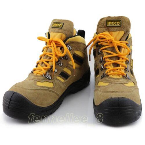 Hommes Cuir Acier Orteil empêcher Puncture Chaussures de sécurité Soudage Travail Bottines Neuf