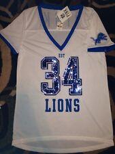 Victorias Secret Pink BLING Detroit Lions NFL Football V Neck Jersey Shirt XS