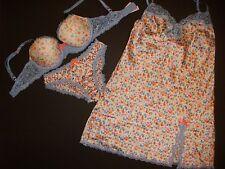 Victoria's Secret 32D BRA SET+S panty/bloomer+XS SLIP satin Blue Orange floral