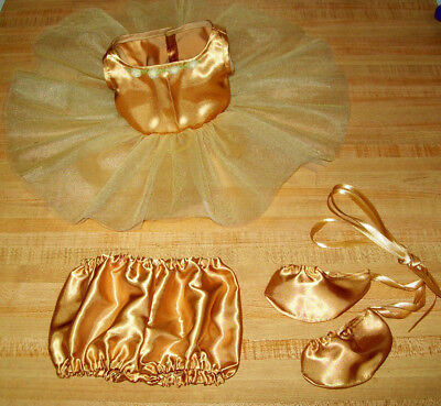 """BALLET BALLERINA TUTU PANTY SLIPPERS BROWN OUTFIT for 16-18/"""" CPK Cabbage Patch"""