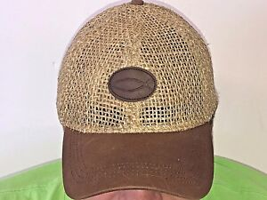 New-Brown-leather-Christian-fish-logo-straw-baseball-cap-hat-Jesus-fish