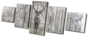 Image Is Loading Vintage Shabby Chic Stag Wood CANVAS WALL ART