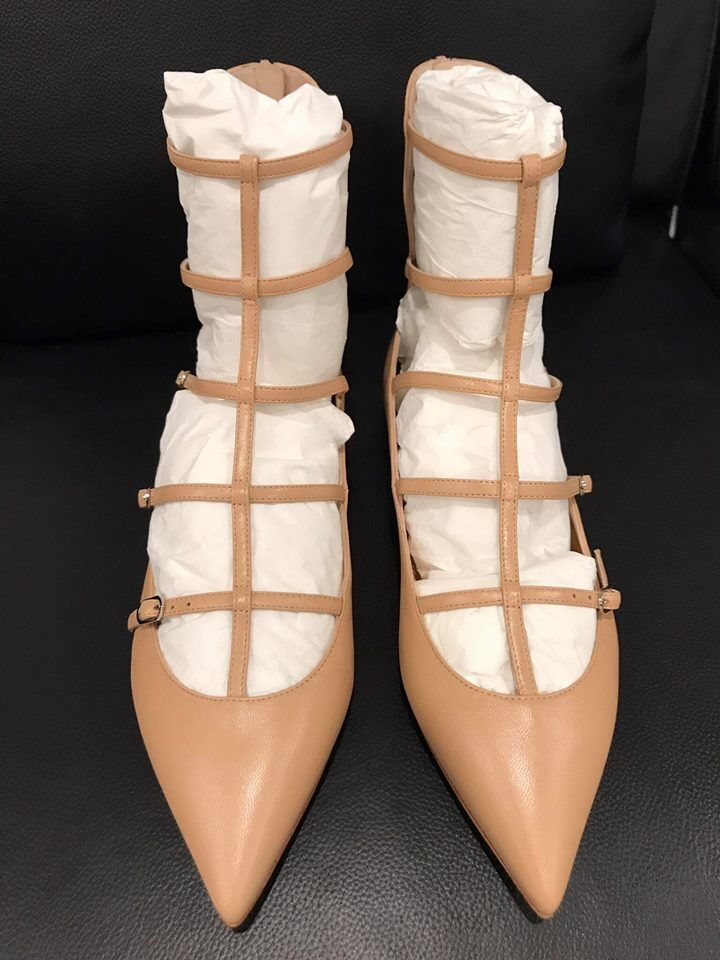 NIB Christian Louboutin Toerless Muse Nude Leather Strappy Cage Ballet Flat 37