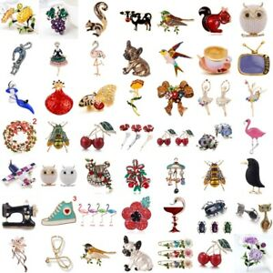 3D-Tier-Emaille-Strass-Anstecknadel-Kristall-Perle-Brosche-Brooch-Pins-Libe-xj