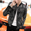Hot-Mens-Shiny-Sequins-Casual-Nightclub-Singer-Jacket-Slim-Fit-Plus-Size-Coat thumbnail 1