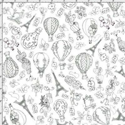 Loralie Sew Paree 942 White Balloon Toss   BTY Cotton Fabric FREE US SHIP
