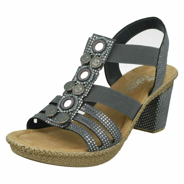 Ladies Rieker 66527 Blue Synthetic Heeled Sandals