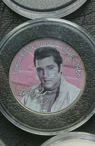 USA Elvis Presley King of Rock and Roll Coloured Gold Plated 25c /& 50c Coin