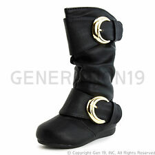 New Youth Girls Side Zipper Faux Leather Boots K78K (Youth 11 12 13 1 2 3 4)
