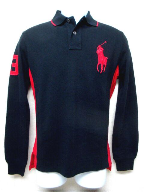 c77e1bb75507b POLO RALPH LAUREN -Big Pony -Men s Long Sleeve Polo Shirt - Black   Red